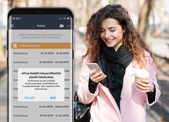 Ilmoitus uudesta palkkalaskelmasta puhelimeesi